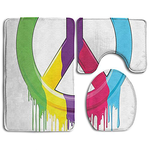 Guiping Peace Symbol Dripping Paint Liquid Colors No War Pacifism Old Movements Bathroom Rug Mats Set 3 Piece,Funny Bathroom Rugs Graphic Bathroom Sets,Anti-skid Toilet Mat Set
