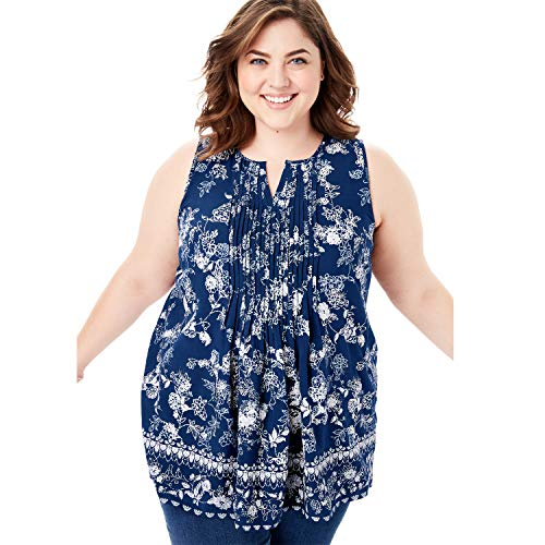 (Woman Within Women's Plus Size Pintucked Notch Neck Tank - Evening Blue Flower Border, 22/24)
