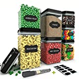 Chef's Path Airtight Food Storage Container Set - 7 PC Set - 10 FREE Chalkboard Labels & Marker - BEST VALUE Kitchen & Pantry Containers - BPA Free - Clear Durable Plastic with Black Lids