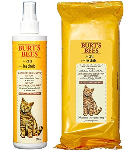 - Burt's Bees For Cats Dander Reducing Spray and Wipes Bundle