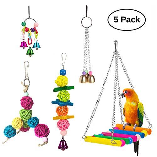 Vehomy Pack of 5 Bird Chewing Toy Bird Hanging Bell Bird Ladder Pet Bird Cage Hammock Swing for Parakeets, Cockatiels, Macaws, Parrots, Lovebirds, ()