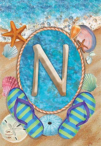 Briarwood Lane Summer Monogram Letter N Garden Flag Flip Flops Seashells 12.5