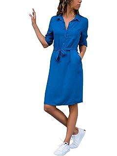 4f52a5d0718 ShallGood Femme Chemise Robe Ceinturée Col V Manches Longues Top Blouse  Chic Elégante Cocktail Soirée Tunique