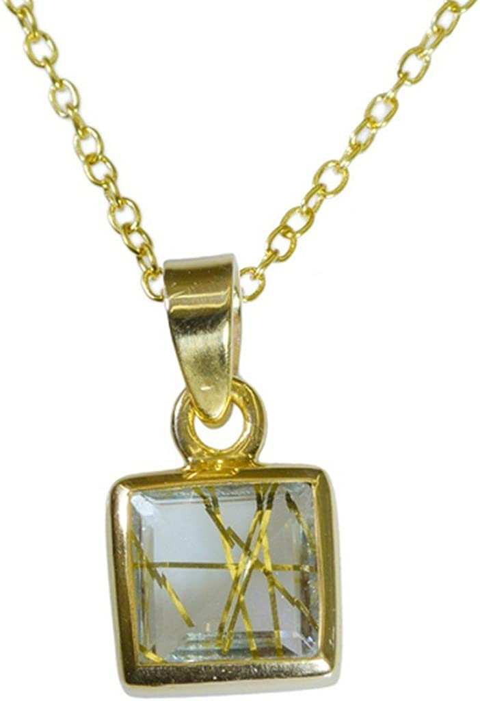Gemsonclick Rutile - Colgante de cuarzo chapado en oro con gemas sueltas_GOCP023
