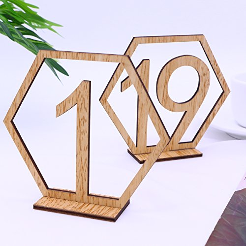 OULII 1-20 Hexagon Wooden Table Numbers with Holder Base for Wedding Birthday Engagement Decoration 20pcs by OULII (Image #1)