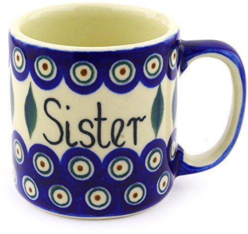 Polish Pottery Mug 12 oz Siostra Sister Traditional Peacock ()
