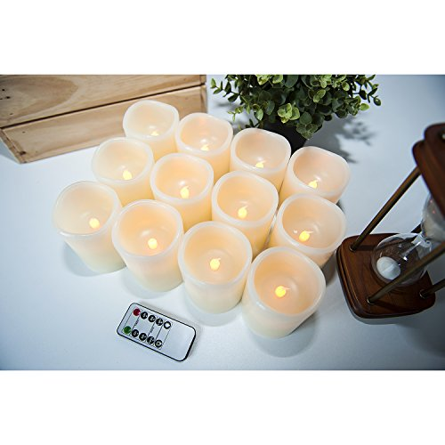 Hausware Flameless Candles LED Candles Set of 12 (D:3'' X H:4'') Battery Operated Candles Flickering Bulb Pillar Ivory Real Wax Electric Candles with Remote and Timer for Home Decoration … by Hausware (Image #5)