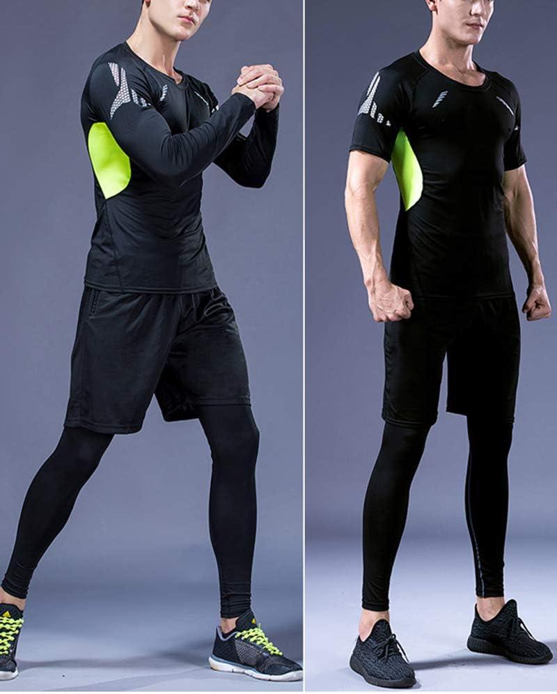 CHEN 5Pcs Herren Kompressions Funktionsw/äsche Sportbekleidung Set Gym Training Lauf Trainingsanz/üge
