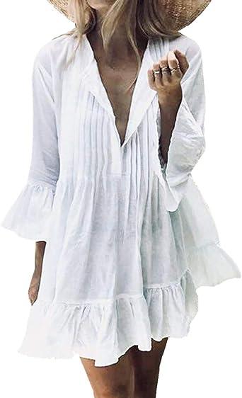 L-Peach Pareo Blusa Blanco Plisado de Playa Túnica Beach Bikini Cover Up para Mujer: Amazon.es: Ropa y accesorios