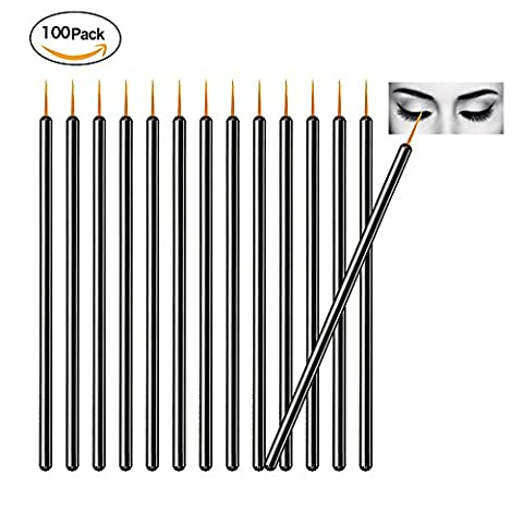 TygoMall 100pcs Disposable Eyeliner Brushes With Covers On the Hair Beauty Makeup Tools Wand Applicator (Size: 9cm, Color: - 9 Applicators