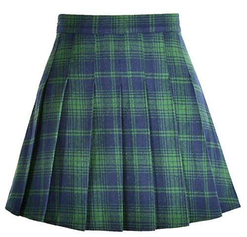 chouyatou Women's High Waist Plaid Flannel Flared Skater Skirt with Zipper Closure (Medium, Green) ()