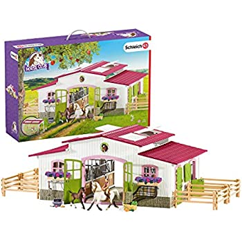 Amazon com: Schleich, Stable with Horses & Accessories
