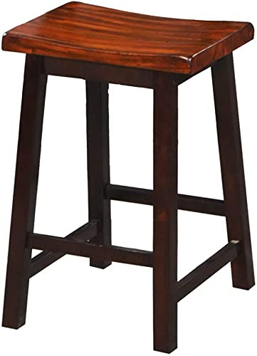 Winners Only, Inc. Fifth Ave Saddle Barstool in Acacia Finish – Set of 2