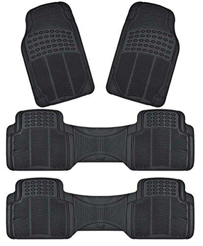 Zento Deals 4-Piece Black Trimmable Premium Quality Full - Nos Floor Mats