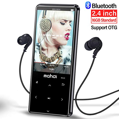 MYMAHDI MP3 Player with Bluetooth 4.1, Touch Buttons with 2.4 inch Screen, 16GB Portable Lossless Digital Audio Player with FM Radio, Voice Recorder, Support up to 128GB, Black by MYMAHDI