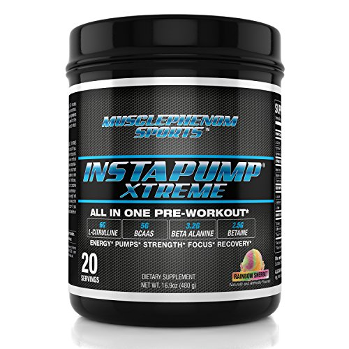 Instapump Xtreme All-in-One Pre Workout with L-Citrulline, Bcaa's, Creatine Monohydrate, Betaine Anhydrous, Agmatine Sulfate and More Rainbow Sherbet 20 Servings
