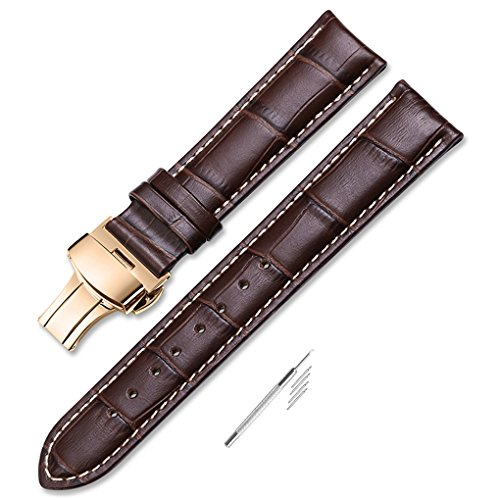 iStrap 22mm Genuine Leather Strap Butterfly Deployment Buckle Watch Band for Rose Gold Cases Brown ()