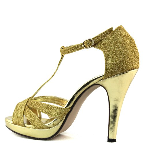 Sandals Ankle Strap High Open Toe Evening Gold Glitter Heel Fashion Women's Shoes Peep Platform q0vHaw