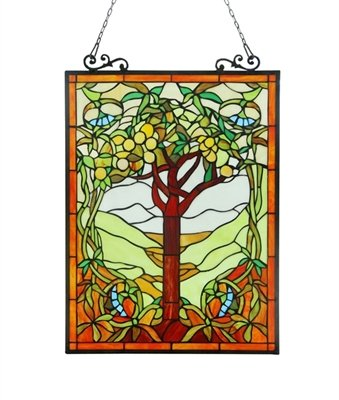 Fruits of life Tiffany-style Glass Window Panel 18x25 ()