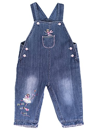 Price comparison product image ZL MAGIC Baby & Little Girls Embroidery Soft Bib Denim Overalls Washed Jumpsuits Jeans