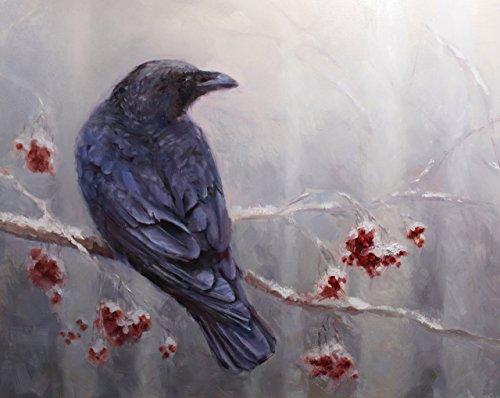 "5x7"" Raven Art Print - Bird Perched in Winter Birch Forest Print- Winter Artwork Décor- Art print By Karen Whitworth"