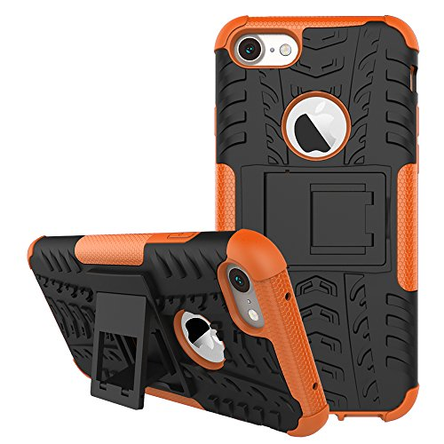 iPhone 7 Case, iPhone 8 Case Kickstand, GPROVA Dual Layer Defender Shockproof Drop Proof High Impact Hybrid Armor Silicone Rugged Case for Apple iPhone 7 / iPhone 8 (Black+Orange) ()