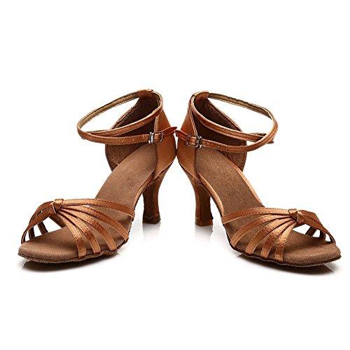 de Chaussures Danse Latine de Modèle 217 HROYL Marron 7cm Femmes Satin Chaussures Danse xRnw4xC6Wq