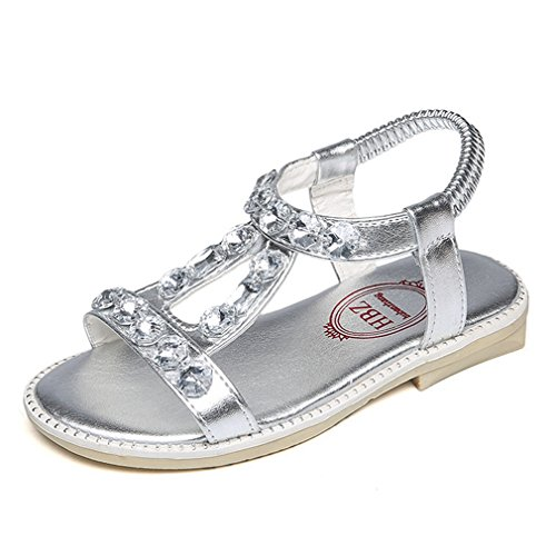 CYBLING Toddler Little Girl's Summer Gladiator T-Strap Sandals Princess Rhinestone Flat Shoes - Ivory T-strap Sandal