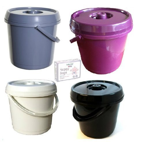 Ur Choice 14 Litre Nappy Bucket with Lid - Silver/Grey + 200 Nappy Bags Free by Whitefurze