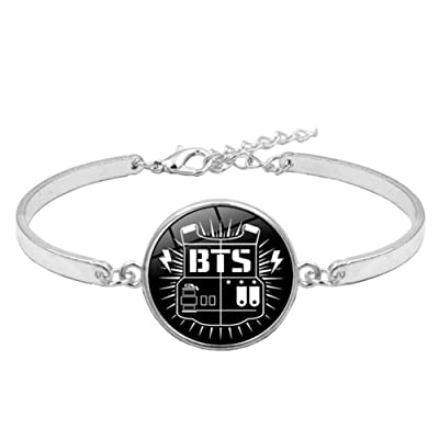 Teblacker BTS Bracelet | Unisex Kpop Bangtan Boys Jungkook, Jimin, V, Suga, Jin, J-Hope, Rap Monster Glass Gemstone Wristband Wristlet for The Army( Style 09): Toys & Games