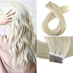 Moresoo 22 Inch Tape in Human Hair Extensions #60 Platinum Blonde Straight Remy Human Hair Glue in Hair Extensions Human Hair 40 Pieces 100 Grams Per Pack
