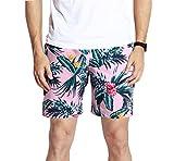 UB-GAILANG Mens Sports Runnning Swim Board Printing Shorts with Pocket Swimsuits Pink L