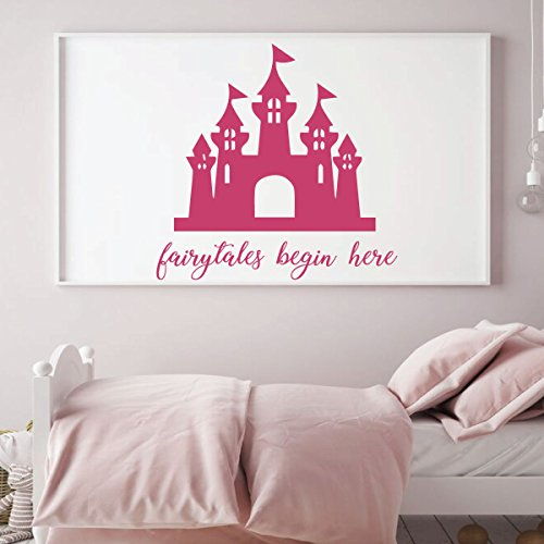Wall Decal for Girl's Room - Fairytales Begin Here Princess Castle - Children Decoration for Bedroom or Playroom