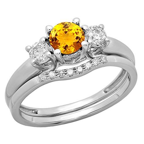 - Dazzlingrock Collection 14K 5 MM Round Citrine & Diamond Bridal 3 Stone Engagement Ring Set, White Gold, Size 8