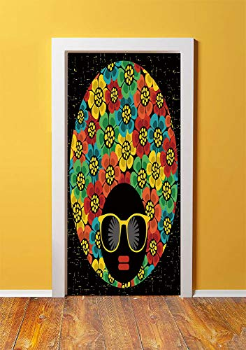 70s Party Decorations 3D Door Sticker Wall Decals Mural Wallpaper,Abstract Woman Portrait Hair Style with Flowers Sunglasses Lips Graphic Decorative,DIY Art Home Decor Poster Decoration 30.3x78.7141,M -