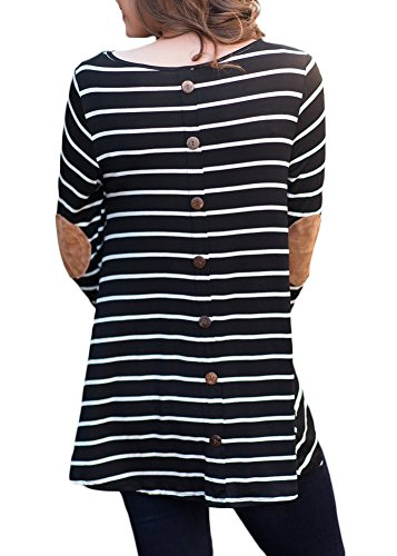 For G and PL Women's Striped Blouse Long Sleeve Button Shirts Cotton Casual Round Neck Tunic Tops Black L