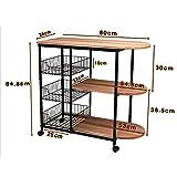 Kitchen shelf HUO Estante De Cocina Cocina Suministros Almacenamiento Estante Piso 3 Estantes Multifunction (Color : Teca)