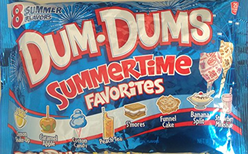 Dum-Dums Summertime Favorites Pops, 44 Pops; 8 Flavors: Funnel Cake, Banana Split, Smores, and more (Single -