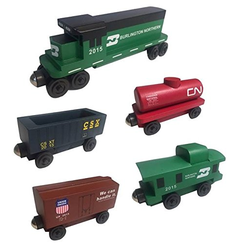 Burlington Northern Caboose - Whittle Shortline Railroad - Manufacturer Burlington Northern Railway GP-38 Diesel 5pc. Set - Wooden Toy Train