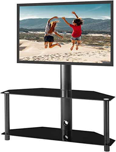 Height and Angle Adjustable Multi-Function Tempered Glass Metal Frame Floor TV Stand