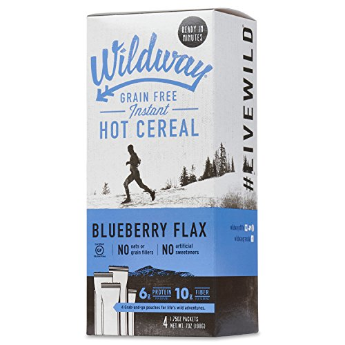 Wildway Vegan Hot Cereal | Blueberry | Certified Gluten-Free, Grain-Free, Keto, Paleo, Non-GMO, No Artificial Sweetener - 2pk