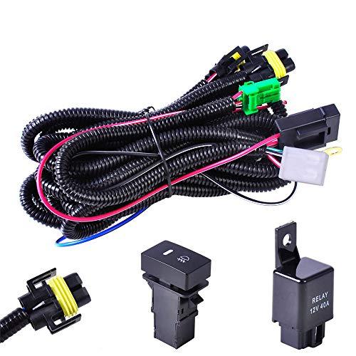 Ricoy 12V 40A H11 Fog Light Wiring Harness Sockets Wire LED indicators Switch For Aftermarket Fog Lights Conversion Kit, Driving Lights, LED Work Lamp, etc ()