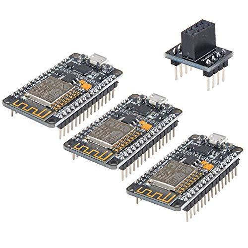 MakerFocus 3pcs ESP8266 NodeMCU LUA CP2102 ESP-12E Internet WiFi Development Board Serial Wireless Module Internet for Arduino IDE/Micropython with Free Adapter Board for ESP8266 ESP-01 and nRF24L01+