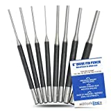 Drive Pin Punch Set 4 Inch Hardened Steel Holds Up to Your Toughest Task 8 Sizes 1/16'' to 5/16''