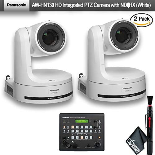 Panasonic AW-HN130 HD Integrated PTZ Camera with NDI|HX (White) (AW-HN130WPJ) 2 - Pack with Remote