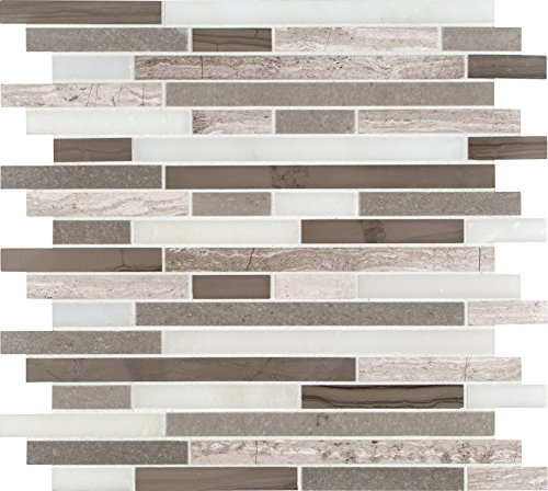 M S International Arctic Storm Interlocking 12 In. X 12 In. Honed Marble Mesh-Mounted Mosaic Tile, (10 sq. ft., 10 pieces per -