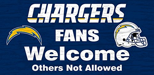 San Diego Chargers Wood Sign - Fans Welcome 12x6 (San Diego Outdoor Mall)
