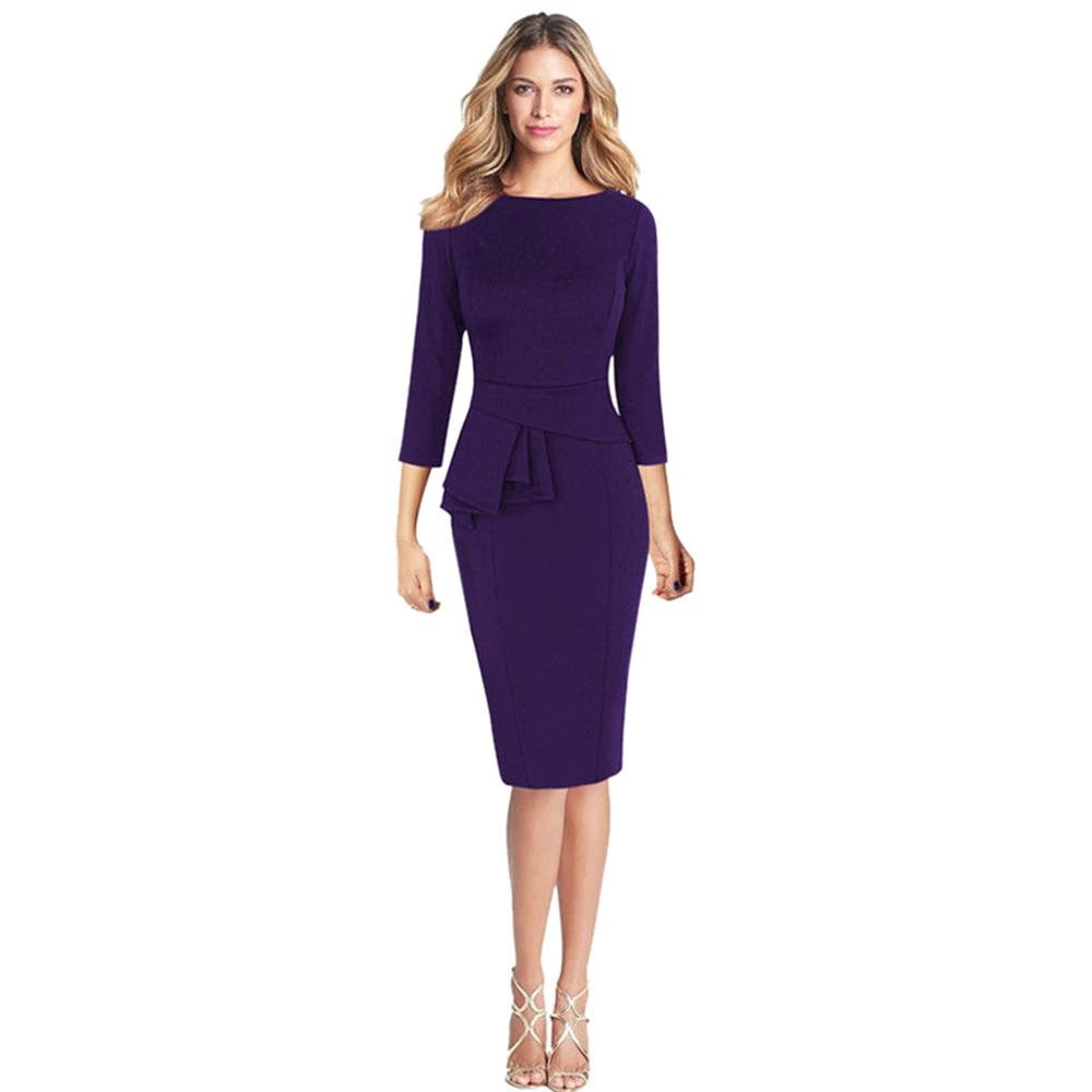 YANG-YI Clearance, Hot Fashion Spring Women Elegant Frill Peplum 3/4 Gown Sleeve Work Business Party Sheath Dress (Purple, L)