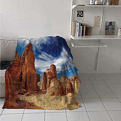 - Desert Digital Printing Blanket Bizarre Sandstone Cliffs in Sahara Desert Tassili NAjjer Algeria Summer Quilt Comforter 62x60 Inch Navy Blue Mustard Orange