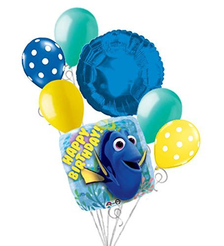 7 pc Finding Dory Happy Birthday Balloon Bouquet Party Decoration Disney Nemo